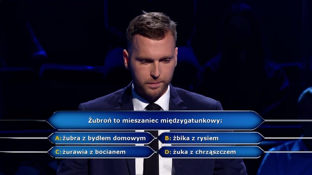 """Żubroń w pytaniu z """"Milionerów"""" za dwa tysiące złotych"""