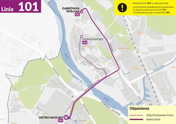 Nowa trasa dla linii 101 ZTM