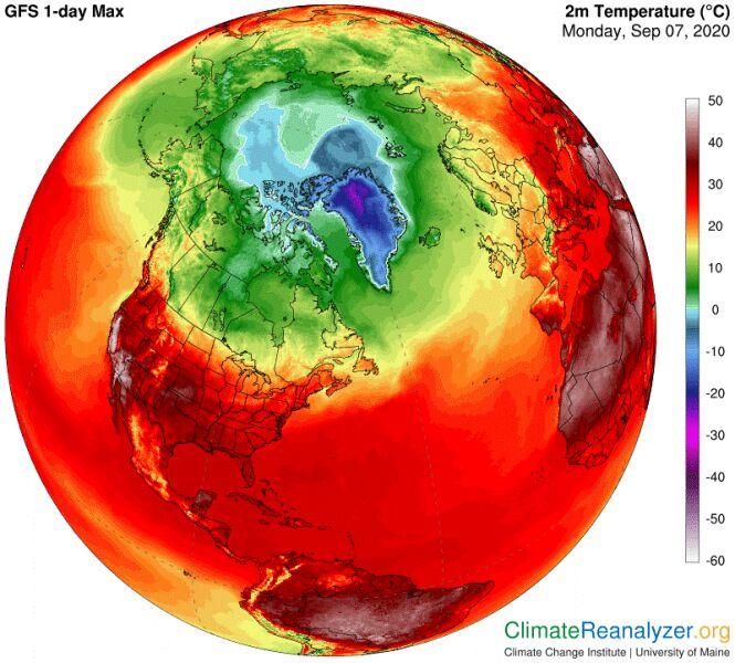 Temperatura w Ameryce w poniedziałek 7 września (podana w stopniach Celsjusza) (climatereanalyzer.org)