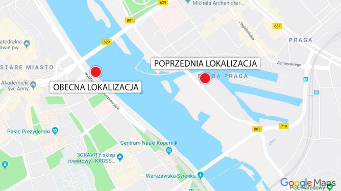 """Poprzednia lokalizacja wodowskazu """"Warszawa-Port"""" i obecna lokalizacja wodowskazu """"Warszawa-Bulwary"""" (Google Maps)"""