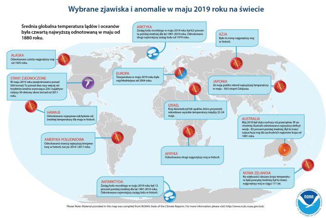 Wybrane zjawiska i anomalie w maju 2019 roku na świecie (NOAA)