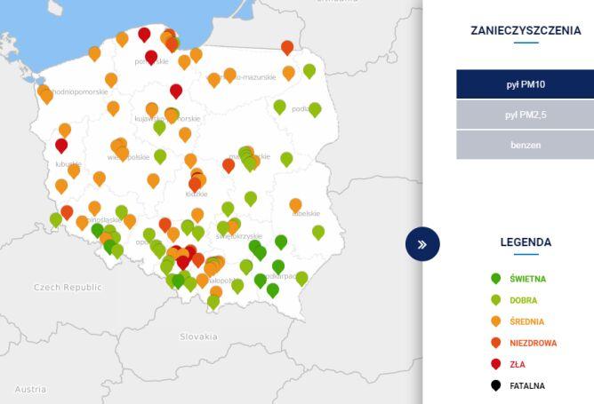 Stężenie pyłu PM10 około godziny 18 (tvnmeteo.pl za GIOŚ)