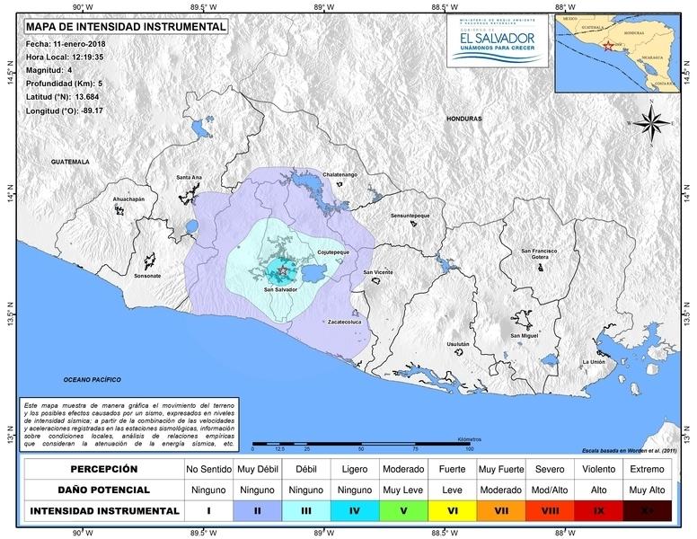 Miejsce, w którym wystąpiło trzęsienie (snet.gob.sv)