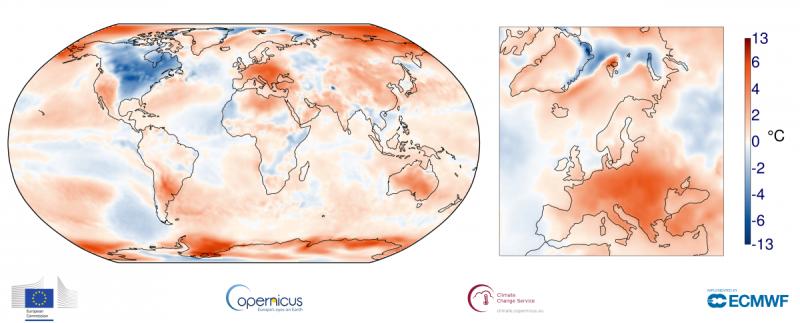 Odchylenie średniej temperatury przy gruncie z kwietnia 2018 od średniej z wielolecia 1981-2010 (ECMWF, Copernicus Climate Change Service)