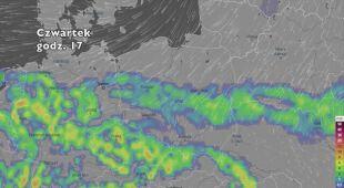 Rozkład i suma opadów w najbliższych dniach (ventusky.com | wideo bez dźwięku)
