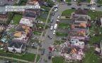 Widok z drona na zniszczenia w mieście Barrie w Kanadzie